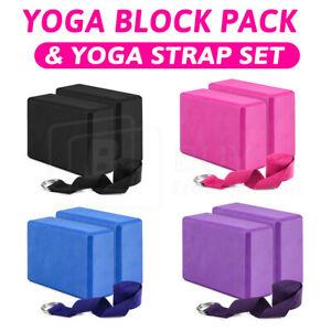 2-4pcs Yoga Block Brick Foaming Home Exercise Practice Fitness Yoga Strap Pack