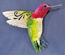 Hummingbird Painted  Metal Wall Plaque In/Outside Home Decor (C)