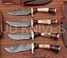 LOT OF 4 |6 INCH CUSTOM DAMASCUS STEEL HUNTING KNIFE |STAG ANTLER B9-11722
