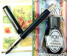 Pirre Paul's F 101 Fountain pen BLACK barrel  M nib  + POKY bottle ink BLACK