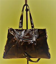 COACH F20464 Ashley Mahogany Brown Patent Leather 2/Way Shoulder Bag/Satchel