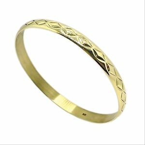 9ct Gold Patterned Solid Gold Bangle