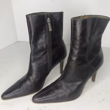 Valerie Stevens Womens 7M Brown Embossed Leather Mid-Calf Dress Work Boots