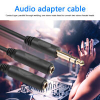 6.35 mm Male to 2 6.35 mm Female Adapter Cable Y Splitter Stereo Audio Cord