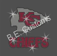 "Rhinestone Transfer ""Kansas City Chiefs"" Hotfix, Iron On"