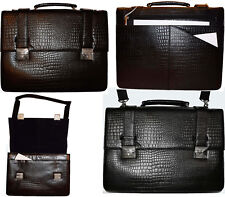 Crocodile Skin Printed Leather Briefcase Black Business Attaché case New sac bag