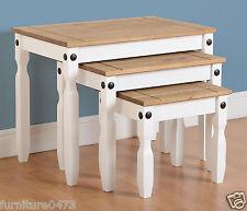 White/Solid Pine Top Nest of Tables (Set of 3 ) W66cm x D43.5cm x H53.5cm CORNET