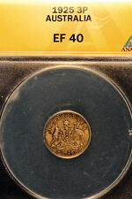 1925 ANACS XF40 Australia George V Silver Three Pence!! #E0834