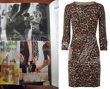 Hobbs Animal De Guepardo Leopardo Marrón Sexy Vestido Vestido Suéter de lana de punto 12 Aso