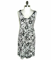 DAISY FUENTES Size L Dress Black White Floral Stretch Sleeveless