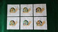 Set of 6 Snail Aqua/Purple Batik Tie Dye Appliqué Quilt Top Blocks~4201d