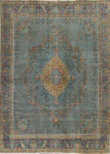 Antique Floral Distressed Overdyed Oriental Area Rug Handmade Wool Carpet 9x11