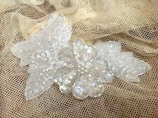 APPLIQUE Flower Leaves PEARLS Sequin Glass BEADS 1pc BRIDAL White Ivory 4x6""