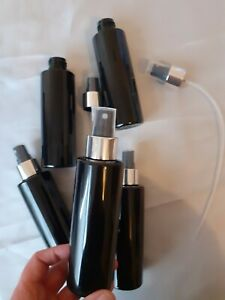 black cylinder PET Plastic  bottles 150ml X15 bottles + chrome atomiser spray