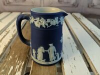 vintage Wedgwood england jasperware blue cobalt mini pitcher creamer