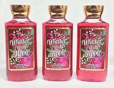 BATH AND BODY WORKS x3 10 oz WINTER CANDY APPLE SHOWER GEL/BODY WASH