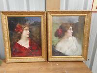 """2 CHROMOS """"PORTRAITS DE FEMMES"""" DEBUT 1900 par """"A ASTI"""" (ENCADREMENT D' ORIGINE)"""