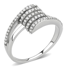 Hcj Stainless Steel Never Fades Channel Setting Cz Fashion Ring Sz 5 -10