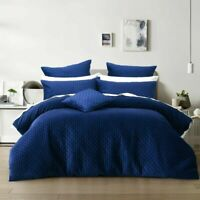 Alden Indigo Blue Quilted Plush Velvet Quilt Doona Duvet Cover set by Bianca