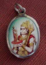 Hindu Deity Pendant Metal and Enamel HANUMAN w/ Green Background