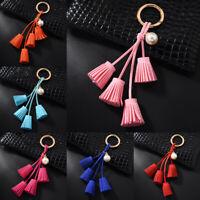 Women Leather Tassel Key Fob Chain Pendant Keychain Charm Car Bag Ornaments Gift