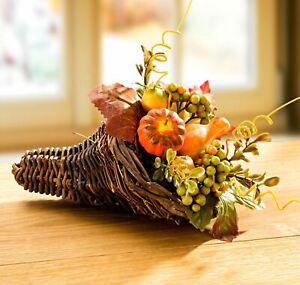 Blumengesteck Herbst-Bouquet Tischdeko Fensterdeko Gesteck Kürbis Rattan