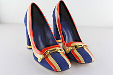 Auth TORY BURCH Casey Suede & Patent Leather Logo Pumps Orange & Royal Blue $389