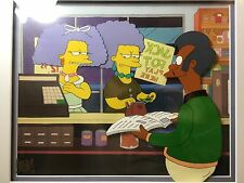 FRAMED Vintage 1991 THE SIMPSONS cartoon animation cel setup apu qwik-e-mart art