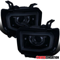 For 2014-2018 GMC Sierra 1500 LED Tube Glossy Black Smoke Projector Headlights