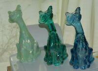"3 Original Fenton Art Glass 11"" Alley Cats '90's Carnival green,sea mist,blue"