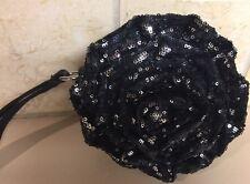 Betsey Johnson Small Black Sequin Flower Purse Wristlet Bag