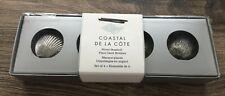 WILLIAMS SONOMA COASTAL DE LA COTE SILVER SEASHELL PLACE CARD HOLDERS 4 NEW