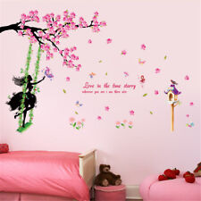 Swing Girl Flowers Room Home Decor Removable Wall Sticker Decal Decoration