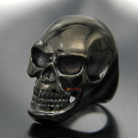 Men's Rocker Biker Skull Ring Huge Black Gothic Ghost Rider 316L Stainless Steel