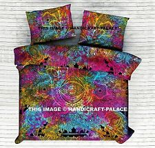 Tie Dye Hamsa Mandala Indian Duvet Doona Cover Throw Cotton Quilt Blanket Set