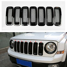 7pcs Black Front Mesh Grill Insert Grille Cover Trim For Jeep Patriot 2011-2017