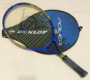 """Dunlop Power 25 Tennis Racquet 4"""" Grip With Case Blue/Yellow"""