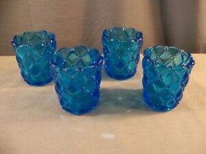 Lot of 4 Blue Glass Diamond Quilt Votive Candle Toothpick Holders