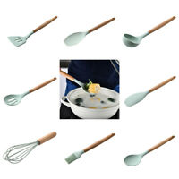 Non-Stick Spoons Wooden Handle Spatula Kitchen Cooking Utensil Tools Set SH