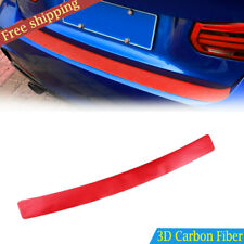 Red 3D Carbon Fiber Car Rear Bumper Trunk Tail Lip Protect Decal Sticker