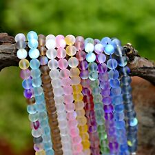 Moonstone Quartz Gemstone Loose Bead Holographic Quartz Matte Stone 6mm 8mm 10mm