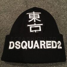 BNWT Mens Ladies DSQUARED 2 Black White Foreign Beanie Hat Cap