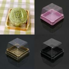 50 Pcs Clear Moon Cake Packaging Box Plastic Square Organizer Container Bag DIY
