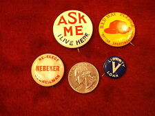 #42 of 66, Mixed Lot Of Vtg Antique Buttons-Red Hat Pledge, Liberty Loan, Ask Me