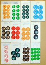 Vintage Colorful Celluloid Plastic Buttons by Schwanda on Cards MINT