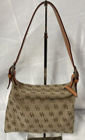 Dooney and Bourke Signature Brown Canvas Leather Trim Small Hobo Shoulder Purse