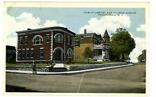 Haverstraw Ny - Public Library & Allison Avenue - Postcard