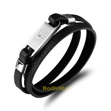 Cross Bible Stainless Steel With Black Leather Bangle Bracelet