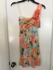 Orange Floral Summer Party Dress One Shoulder Strap XS Juniors NWT