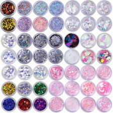 6 Boxes Nail Glitter Sequins Holographicss Silver Flakes 3D Nail Art Decoration
